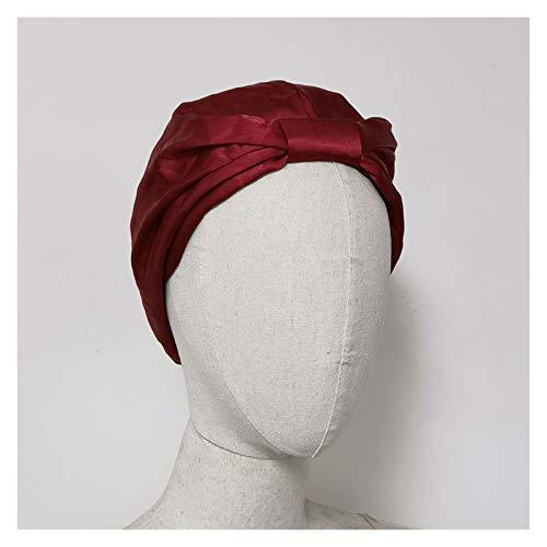 HHSUU Mujer Sombrero Sombrero Seda Suave Charmeus Noche Sueño Tap Cap Pein Bonnet (Color : Red)