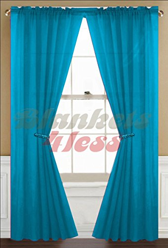 """Awad Home Fashion 2 Panels Solid Neon Turquoise Sheer Voile Window Curtain Treatment Drapes 55"""" X 84"""""""