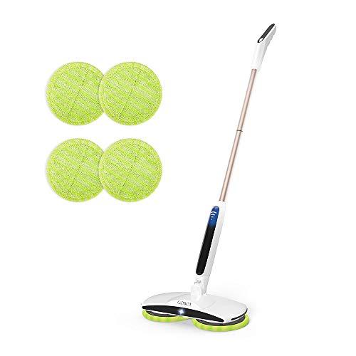 GOBOT 電動モップ コードレス 回転モップ クリーナー 充電自走式 フロアモップ 長さ調節可 軽量 床掃除モップ 乾拭き 水拭き 掃除用品 収納簡単