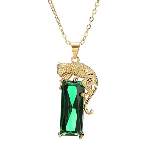 AILUOR Women's Mens 14K Gold Plated Green Crystal Leopard Pendant Necklace Hip Hop Punk Created Emerald Panther Necklace Jewelry Gifts (Green)