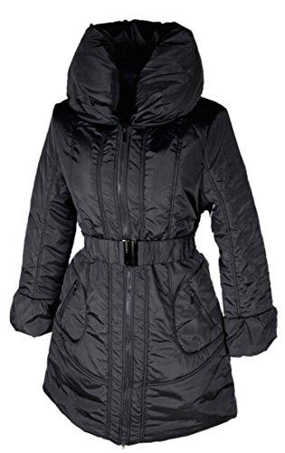 Italy Donna dames lagenlook ballon winterjas parka mantel warm 38 40 42 S M L zwart grijs winterjas anorak riem