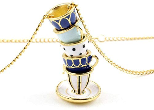 TYWZH Collar gótico Moda Azul café Blanco Taza Pila Esmalte Colgante de Metal Collares joyería para niñas Mujeres Regalo