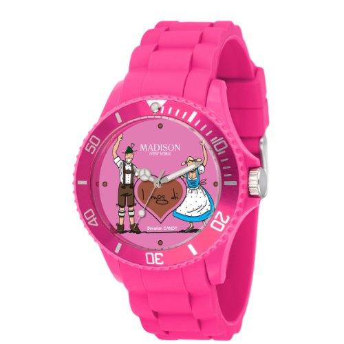 Madison New York Damen-Armbanduhr XL Bavarian Candy Analog Quarz Silikon U4444E