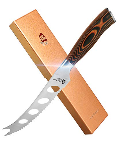 """TUO Cheese Knife - Tomato Knife Fruit Knife 5.5"""" - Serrated Edge - German Steel Blade - Mutil-Use- Pakkawood Handle - Gift Box Included - Fiery Series"""