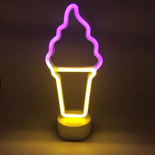 LED Helado Luz de Neón, LED firma luces de noche coloridas de la lámpara de neón del arte para decoración de pared o dormitorio, USB alimentado