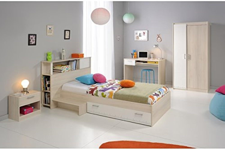 Kinderzimmer 4-teilig grau   wei akazie inkl Schreibtisch + Kinderbett inkl Bettkasten + Nachtkommode + Kleiderschrank Jugendzimmer