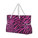 Bolsas de playa grandes Totes de lona Bolsa de hombro Rosa Animal Zebra Leopard Print Resistente al agua Bolsas para gimnasio Viajes Diarios