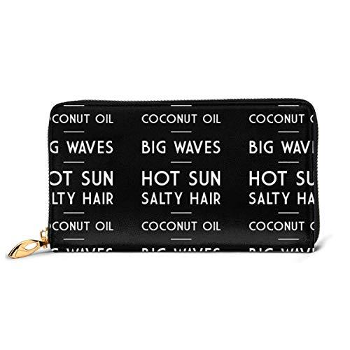 Iop 90p Salty Hair Coconut Oil Big Waves Hot Sun Women Genuine Leather Wallet Clutch Bag Long Purse Card Holder