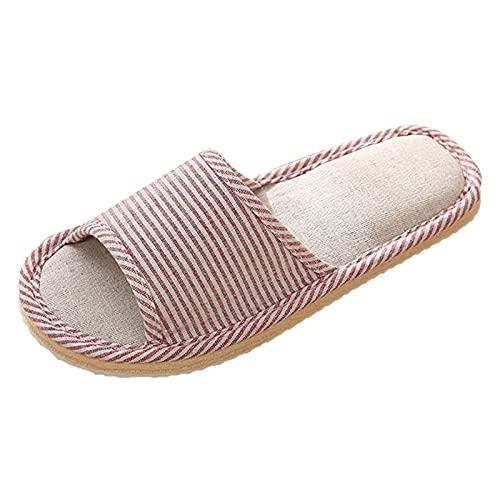 Briskorry Zapatillas de estar por casa antideslizantes de lino a rayas para hombre y mujer, de punta abierta, de lino, unisex, para el hogar, sandalias suaves para el hogar