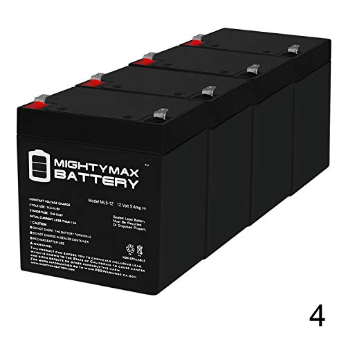 Mighty Max Battery ML5-12 - 12V 5AH Battery for Razor E100 E125 E150 E175 Electric Scooter - Not Compatible with Power Core E100-4 Pack Brand Product