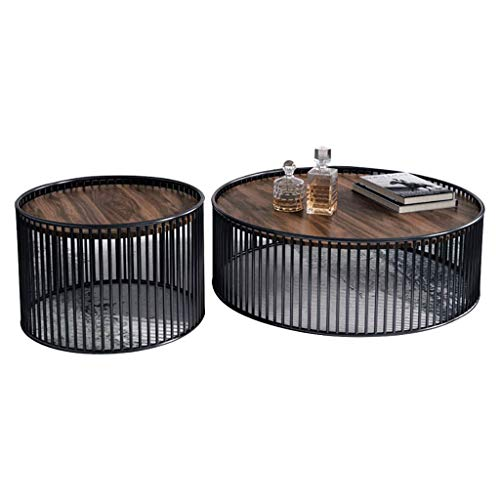 HXCD Wood And Metal Round Nesting Coffees End Tables/Side Table, 2 Nest Of Tea Coffee Table Sets For Living Room Or Office, Pine