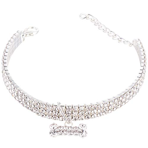 Balacoo Collar para perros de cristal de strass ajustable, collar para cachorro, collar para perros con diamante en forma de hueso colgante para gato (blanco, talla L)
