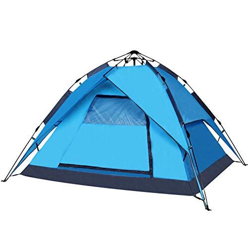 Pop-up Zelt 3-4 Personen Automatisches sofort tragbares Kuppelzelt wasserdichtes und ultraviolettes Schutzzelt mit Handtasche-blau_3-4 Personen
