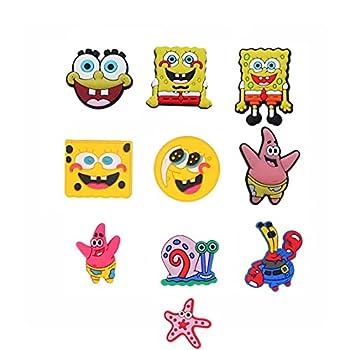 Natsuk486 10 Pcs Spongebob Crocs Shoe Charms ,Cute DIY Unisex Hole Clogs Garden Shoe PVC Fun Clog Charm for Crocs Apply to Shoe Wristband Bracelet,Shirt Hole Decoration