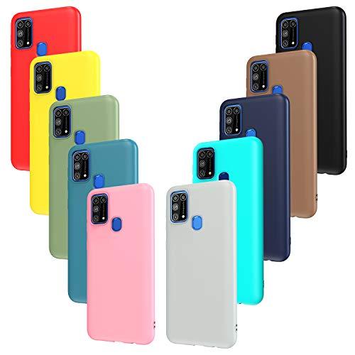 ivoler 10x Hülle für Samsung Galaxy M31, Ultra Dünn Tasche Schutzhülle Weiche TPU Silikon Handyhülle Hülle Cover (Schwarz, Grau, Dunkelblau, Himmelblau, Blau, Grün, Rosa, Rot, Gelb, Braun)