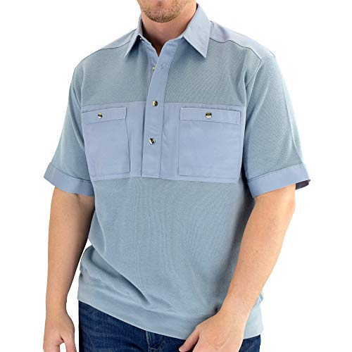 Classics by Palmland Solid Knit Banded Bottom Shirt with Woven Chest Panel 6041-22N Big and Tall (2XLT, Chambray)