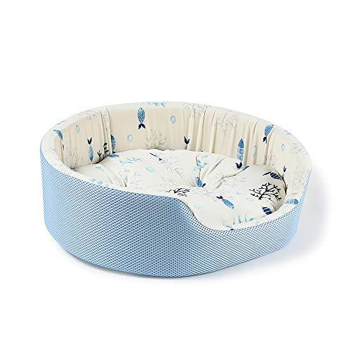 Peto-Raifu ペット ベッド ソファ 洗える クッション 猫ベッド 冷感 ひんやり 通気性いい 通年タイプ 夏 休憩所 かわいい 小型犬用 寝床 暑さ対策 ペット用品 小魚柄 45*37*15cm
