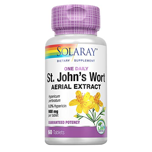 Solaray St. Johns Wort Aerial Extract One Daily 900mg   Standardized w/ 0.3% Hypericin for Mood Stability & Brain Health Support   Non-GMO (60 CT)