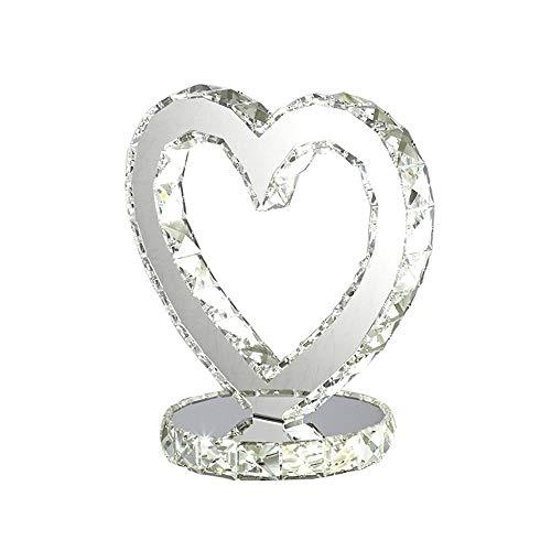 HNWNJ Lámparas de Escritorio Iluminación Personalizada Boda de decoración de Interior lámpara de Mesa de Noche Tocador Dormitorio Arte cristalino lámpara de Mesa Regulable en Forma de corazón
