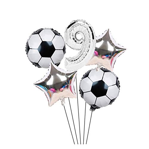 YSDSPTG Balloons 6pcs/lot 18inch Football Soccer Theme Round foil Balloons 32inch Gold Silver Number Balloon Birthday Party Event & Party Supplies (Color : Silver0)