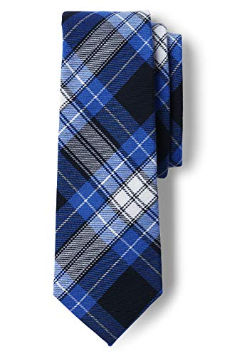 Lands' End Uniform Boys To Be Tied Plaid Tie Clear Blue Plaid Regular No Sz