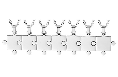 Ztuo Women Men Stainless Steel Necklace BFF Puzzle Matching Friendship Jewelry 7 Piece