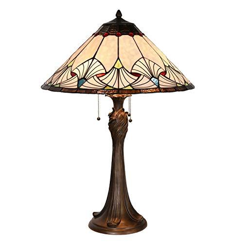 Lumilamp Lámpara de mesa Tiffany 5LL-5394 de poliresina y cristal