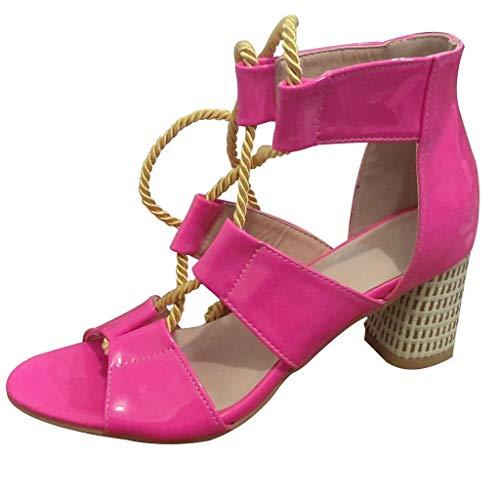 YWLINK Zapatos Mujer Tacon Zapatos De Tacones Altos De Verano para Mujeres De Roma Cuerda De CáñAmo Correa De Tobillo Sandalias De Punta Abierta Fiesta Bohemia TamañO Grande(Rosa Caliente,36EU)
