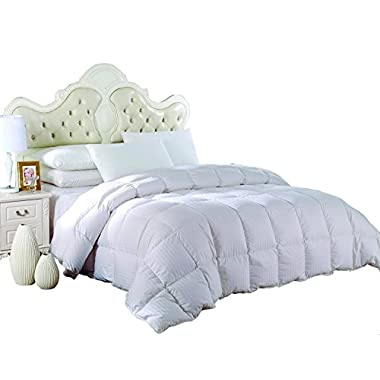 Royal Hotel's OVERSIZED QUEEN Size Light Down-Comforter 650-Fill-Power 100 % Cotton Shell 300TC - Stripe White