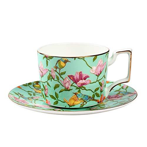 ACOOME - Set di Tazze da tè e caffè con piattino, in Porcellana Bone China, Porcellana d'Epoca Fiore di Tazza di tè, 1 x Tazza, 1 x piattino (Verde)