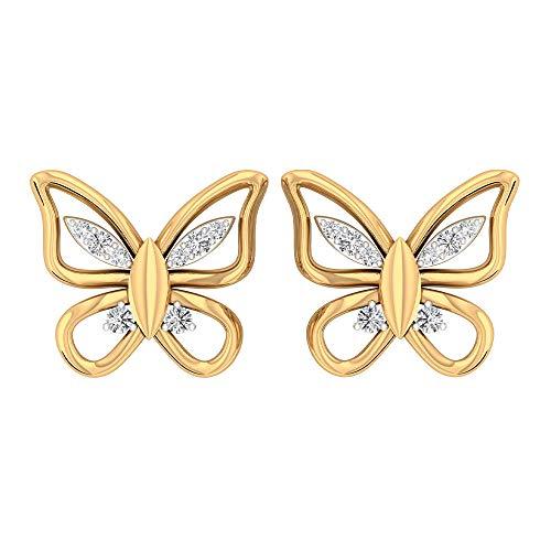 Rosec Jewels - 10 K Gelbgold Runder Brilliantschliff Leicht Getöntes Weiß/Top Crystal (I) Diamant