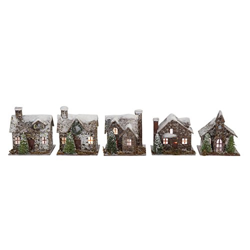 Creative Co-op Snow Flocked Paper & Birch Bark Buildings with LED Lights (Set of 5 Styles), Batteries Included, 3.5' H, 5 Piece