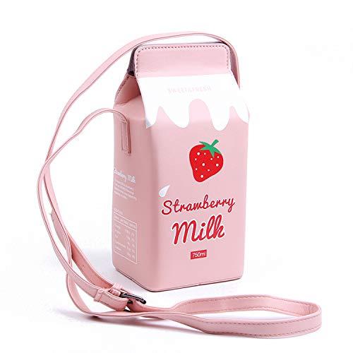 LUI SUI Mädchen Fruits Banana Erdbeere Milk Box Cross Body Geldbörse Frauen Handy Wallet Schultertasche Geschenk für Freunde, Pink (erdbeere), Einheitsgröße