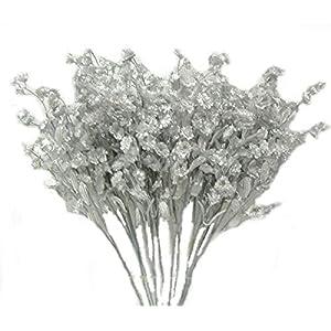 Floral Décor Supplies for 12 Silver Baby's Breath Gypsophila Silk Wedding Flowers Centerpieces Fillers Gyp for DIY Flower Arrangement Decorations