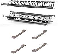 scolapiatti in acciaio inox da 76 cm di lunghezza variabile da 73 cm a 78 cm con supporti laterali per pensili da 80 cm made in italy