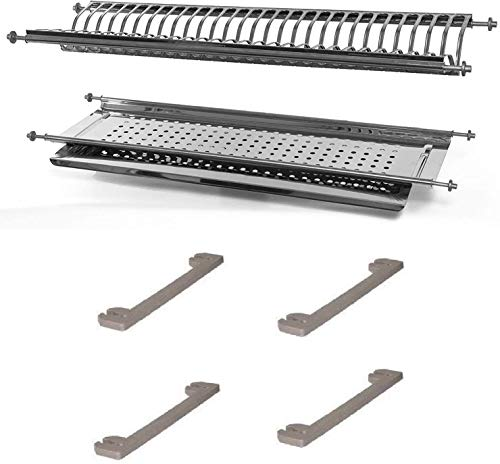 Escurreplatos de acero inoxidable de 56 cm de longitud variable de 53 a 58 cm con soportes laterales. Para armarios de 60 cm. Fabricado en Italia.