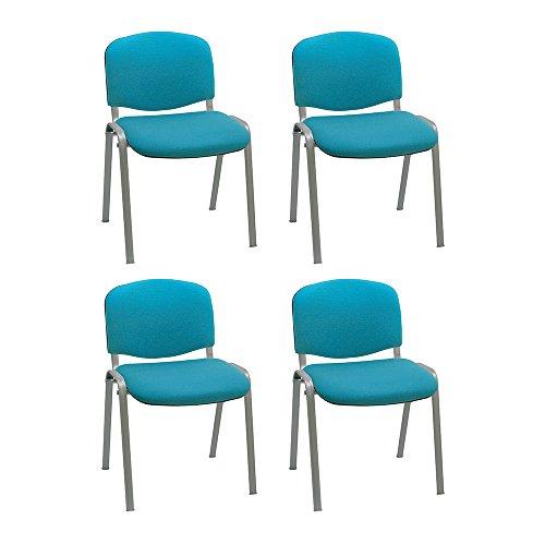 Centrosilla Silla confidente ISO apilable con Acolchado más Grueso Ideal para Salas reuniones, conferencias tapizada Patas Acero Gris (Pack 4 Unidades) (Agua Marina)