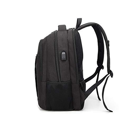 HUI JIN Mochila de viaje para ordenador portátil, antirrobo, bolsa de trabajo, con USB, color negro
