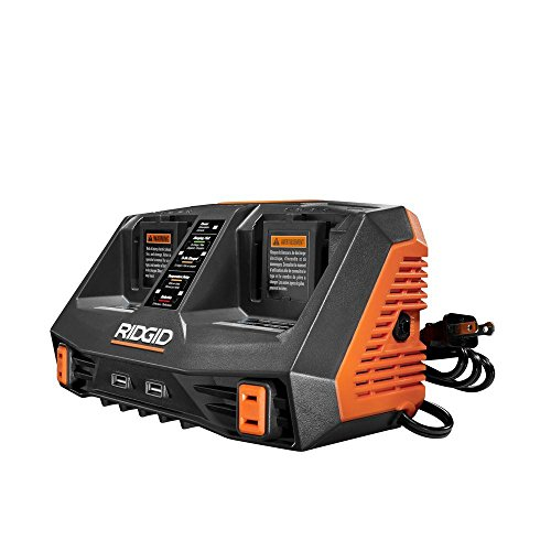Ridgid AC840094 Gen5X Dual Port 18V Lithium Ion and NiCad Battery Charger with Pass-Through AC Ports and USB Charging (Batteries Not Included, Charger Only) (Renewed)