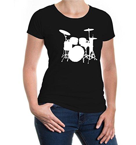 buXsbaum® Damen Girlie T-Shirt Schlagzeug | Schlagzeuger Drums Trommler Musik Instrument | XS, Schwarz