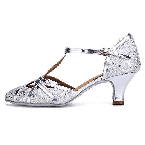 YKXLM Mujeres&Niña Zapatos latinos de baile Zapatillas de baile de salón Salsa Tango Performance Calzado de Danza,ES511-5,Plateado color,EU 37.5