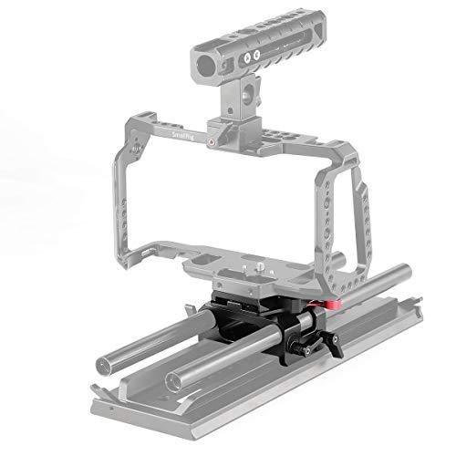 SMALLRIG Placa de Base de BMPCC Compatible con Blackmagic Design Pocket Cinema Camera 4K, 6K Plato Base para Manfrotto 501PL Standard con Abrazadera de Varilla de 15 mm - 2266