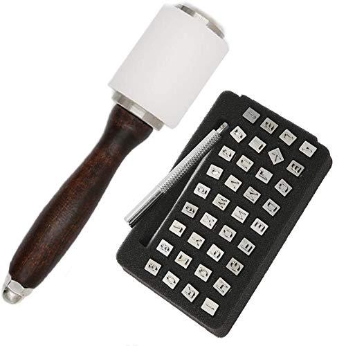 Juego de 38 piezas de herramientas de estampado de cuero de 3,5 mm con letras mayúsculas y números con un martillo de nailon LeatherCraft para manualidades (1 martillo de...