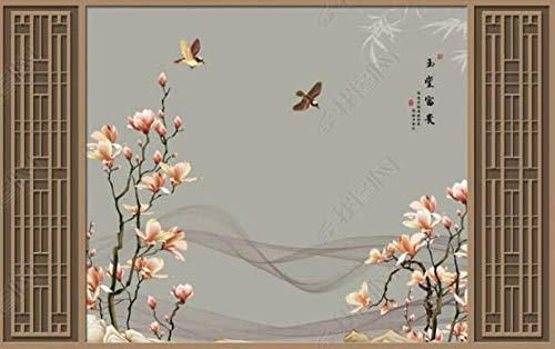 Papel Pintado Pared 3D Fotomurales Vintage Magnolia Flor Pájaro Madera Celosía Textura...
