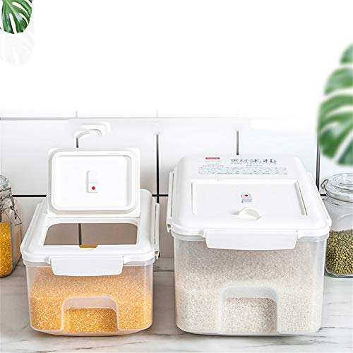 HJSQ 22lb Airtight Rice Storage Container Rice Dispenser Food Storage Container with Wheels Food Dispenser for Flour, Dry Food, Kitchen Organization