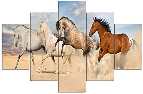 XQBHH Imagen de Arte de Pared de 5 Piezas,Pintura Decorativa Moderna de la Lona, Cinco Simples, inyección de Tinta consecutiva, Carreras de Caballos de Animales contemporáneos