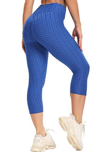STARBILD Pantaloncini Sportivi Donna Capri Push Up Anticellulite Sexy Nido d'Ape 3D Leggins Sportivo 3/4 Vita Alta Elastico Ginnastica Yoga Fitness Palestra Jogging, B-Blu M