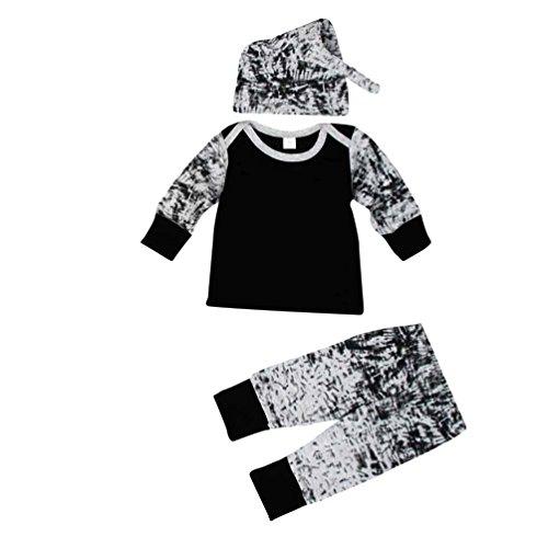 kingko® 1Réglez Bébés garçons Outfit Vêtements à manches longues Impression T-Shirt + Long Pants + chapeau (18M)