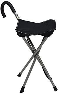 Folding Cane Chair - Walking Stick with Stool - In Black