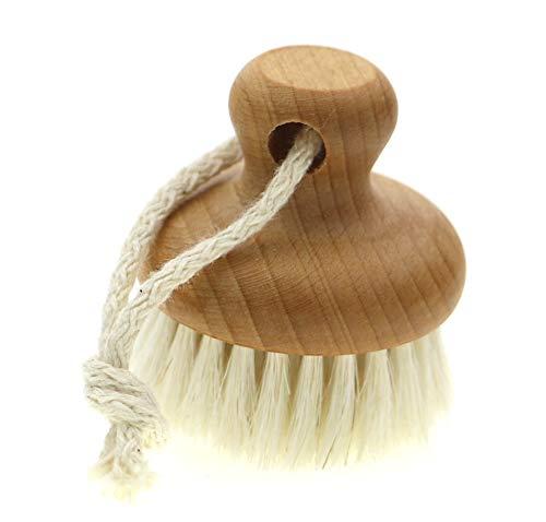 Knopf Gesichtsbürste - Buchenholz, geölt, mit weichem Mähnenhaar mit Baumwollkordel, für eine strahlende und jugendliche Haut, perfekte Vorbereitung eine wirkungsvolle Pflege, Ø 5 cm, Made in Germany